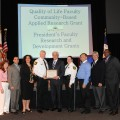 Quality of Life Council Outstanding Community Partner of the Year, Broward Sheriff's Office (BSO). From left to right: Kimberly Durham, Psy.D., NSU; Darren Sieger, BSO; Tammy Kushner, Psy.D., NSU; Colonel Timothy Gillette, BSO; George L. Handbury II, Ph.D., NSU President/CEO; Captain Robin Larson, BSO; Frank DePiano, Ph.D., NSU; Vincent B. Van Hasselt, Ph.D., NSU; and Leslie Taylor, Ph.D., BSO.