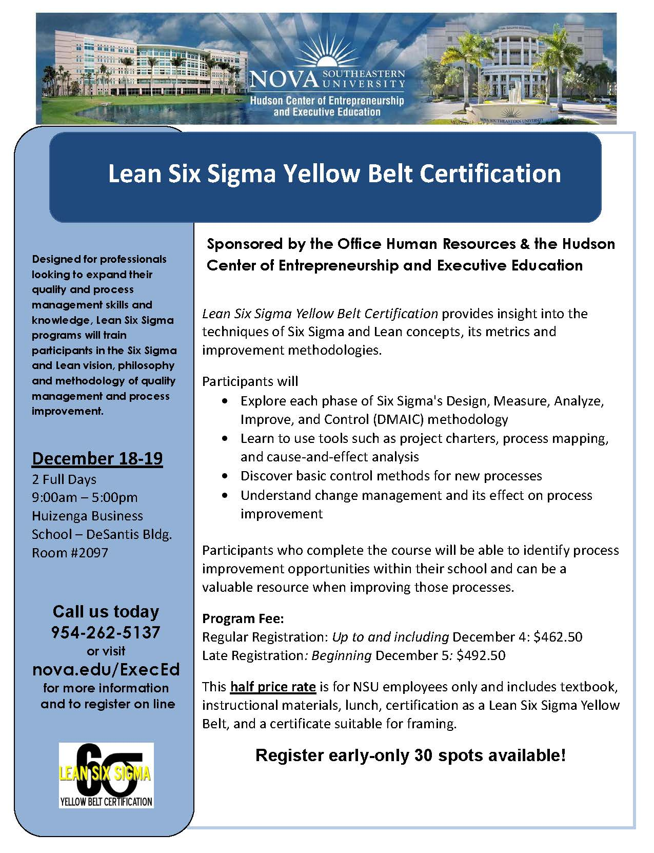 Lean Six Sigma Yellow Belt Certification Dec 18 19 Nsu Newsroom