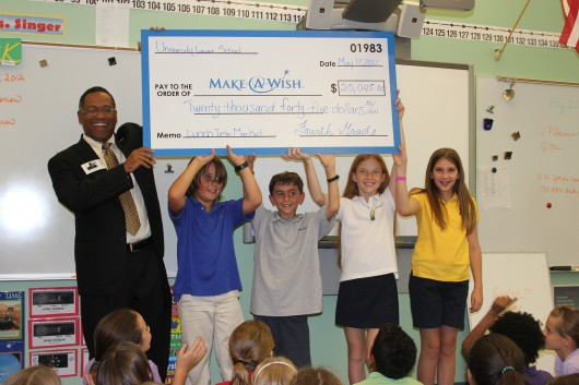 University School of NSU students collected and sold toys, books and music to raise more than $20,000 for the Make-A-Wish Foundation in 2012.