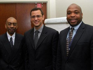 Photo caption:  Presenters at NSU Hosted Seminar: Ramon Hurlockdick, a doctoral candidate in the NSU Graduate School of Computer and Information Sciences, Carlos DeJesus, M.S., GSEC, MCP,  NSU Information Security Team, and Marlon Clarke, Ph.D., NSU Network Operations and Services Team.