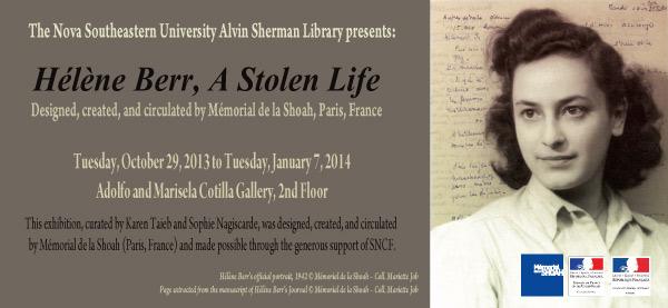 """Hélène Berr, A Stolen Life"""" Exhibit and Lecture at the Alvin Sherman"""