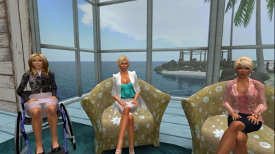 Avatars of the research team in an area of the private Second Life® island where amputees will be able to meet virtually as part of the study