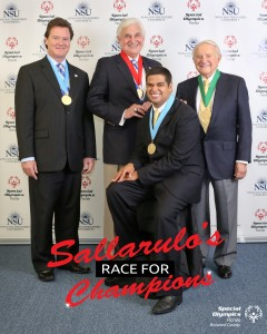 From left to right: Paul M. Sallarulo, Nova Southeastern University Board of Trustee Member and Founder of Sallarulo´s Race for Champions,  George L. Hanbury II, Ph.D., President/CEO of Nova Southeastern University, Fernando Nunez Jr., 2013 Special Olympics Broward County Athlete of the Year, Joe Amaturo, Special Olympics Broward County Honorary Board Member