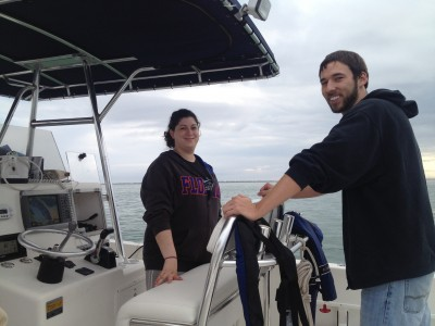 NSU graduate students Cayla Dean (L) and Bryan Hamilton (R) working with CARTHE research team on the oil spill project in the Gulf of Mexico.