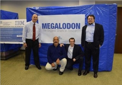 The Megalodon Supercomputer at Nova Southeastern University, with NSU's Eric Ackerman, Ph.D., and IBM's Dore Teichman, Graig Oteri and Gregory Mussich