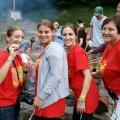 Heather Dern, Rachel Smith, Melanie Kottke, and Sue Kabot brought Razor to his first campfire.