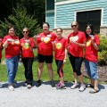 Rachel Smith, Sue Kabot, Heather Dern, Heather O'Brien, Melanie Kottke, Stepahnie Calvajero from the Mailman Segal Center and Debbie Meline, NSU's Director of Donor Relations and Stewardship, brought their Shark Pride to Camp Yofi.