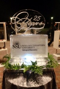 Ice sculpture commemorating Nova Southeastern University's College of Optometry's 25th anniversary