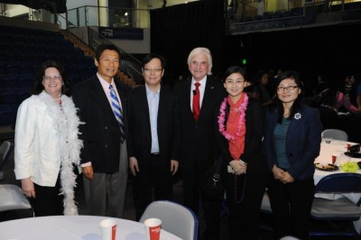 (L to R) Tommie Boyd, Ph.D., chair, Dept. of Family Therapy; Honggang Yang, Ph.D., dean, SHSS; Xiaoyi Fang, Ph.D., Yangzi-River professor and director, Institute of Developmental Psychology; George L. Hanbury II, Ph.D., NSU president; Linyuan Deng, Ph.D., assistant professor; Xiuyun Lin, Ph.D., associate professor.