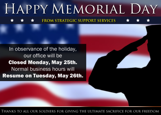 strategic support services will be closed on memorial day  may 25