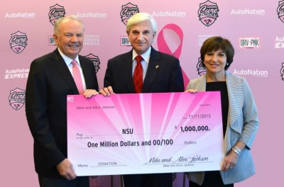 (L-R) Mike Jackson, Chairman, CEO & President, AutoNation, Inc.;  Dr. George Hanbury, NSU President & CEO; and Alice Jackson, cancer survivor, businesswoman & philanthropist