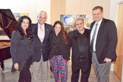 Giselle Brodsky, co-founder, The International Piano Festival in Miami; NSU President Dr. George Hanbury; Janina Brandt; Jorge Luis Prats, pianist from The International Piano Festival in Miami; and Dr. H. Thomas Temple