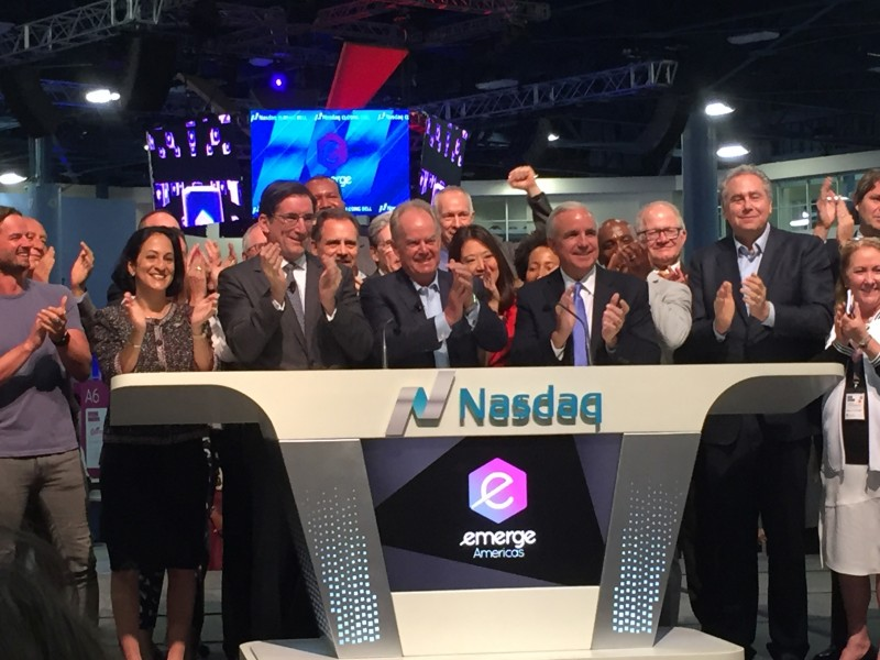 Jaqueline A. Travisano, NSU's executive vice president and chief operating officer, joined eMerge founder and entrepreneur Manny Medina and other notable leaders to ring the NASDAQ closing bell at the eMerge Americas Conference on April 18.