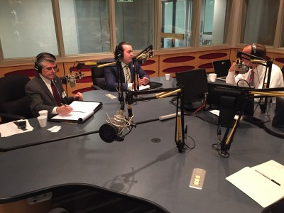 "Emilio Lorenzo, center, discusses ""brain drain"" with Fernando Figueredo, (left) Ph.D., executive director, Career Services, Florida International University, and Tom Hudson, vice president of news, WLRN."
