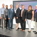 Jessica Brumley (center), Vice President of Facilities Management, Nova Southeastern University (NSU), surrounded by leaders from ANF Group and ACAI Associates, which respectively constructed and designed NSU's Center for Collaborative Research