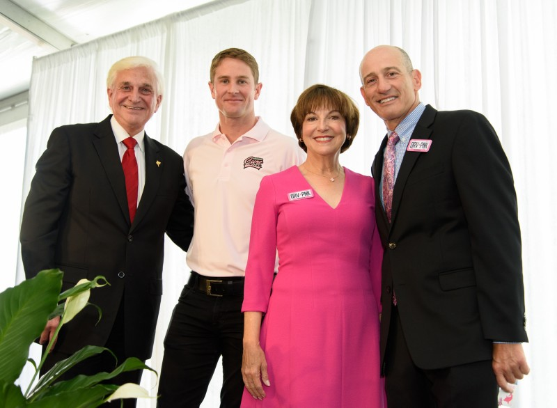 Dr. George Hanbury, President, Nova Southeastern University; Ryan Hunter-Reay, Indianapolis 500® Champion and Founder of Racing for Cancer; Alice Jackson, philanthropist; Marc Cannon, Chief Marketing Officer and Senior Vice President, AutoNation