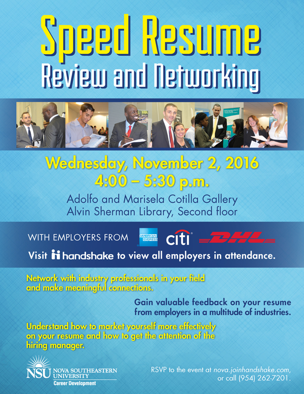 speed resume review and networking nov 2 nsu newsroom