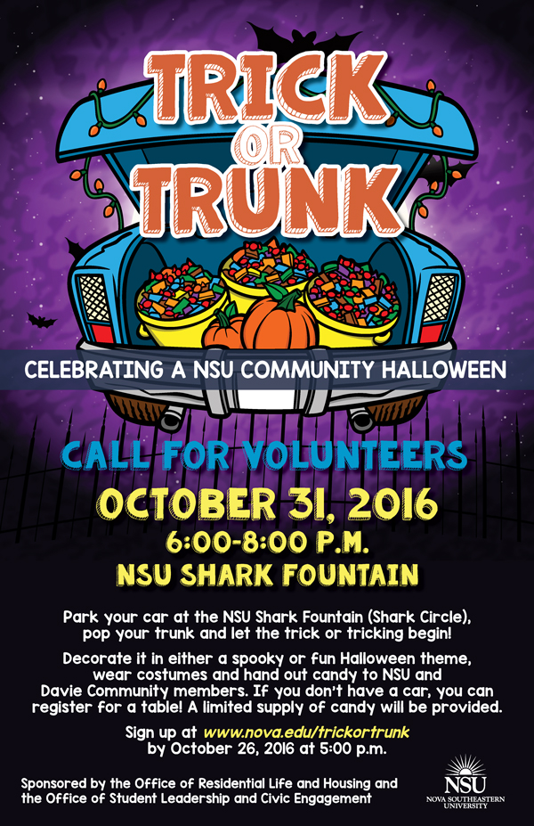 trick or trunk call for volunteers sign up by oct 26 nsu newsroom. Black Bedroom Furniture Sets. Home Design Ideas