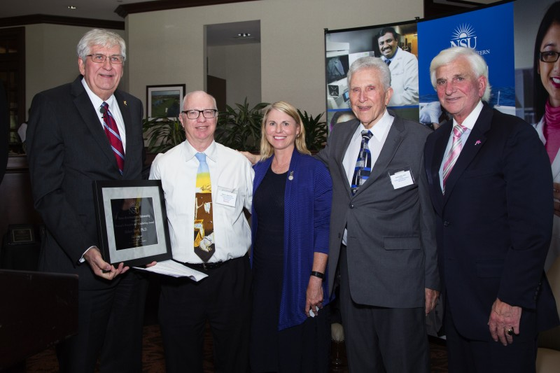 Photo caption (left to right): Ralph V. Rogers Jr., Ph.D., NSU executive vice president and provost; Robert C. Speth, Ph.D., recipient of NSU's 6th Annual Provost's Research and Scholarship Award; Lisa Deziel, Pharm.D., Ph.D., dean, NSU College of Pharmacy; Stanley Cohen, Ed.D., nominator of Dr. Speth; and George L. Hanbury II, Ph.D., NSU president & CEO