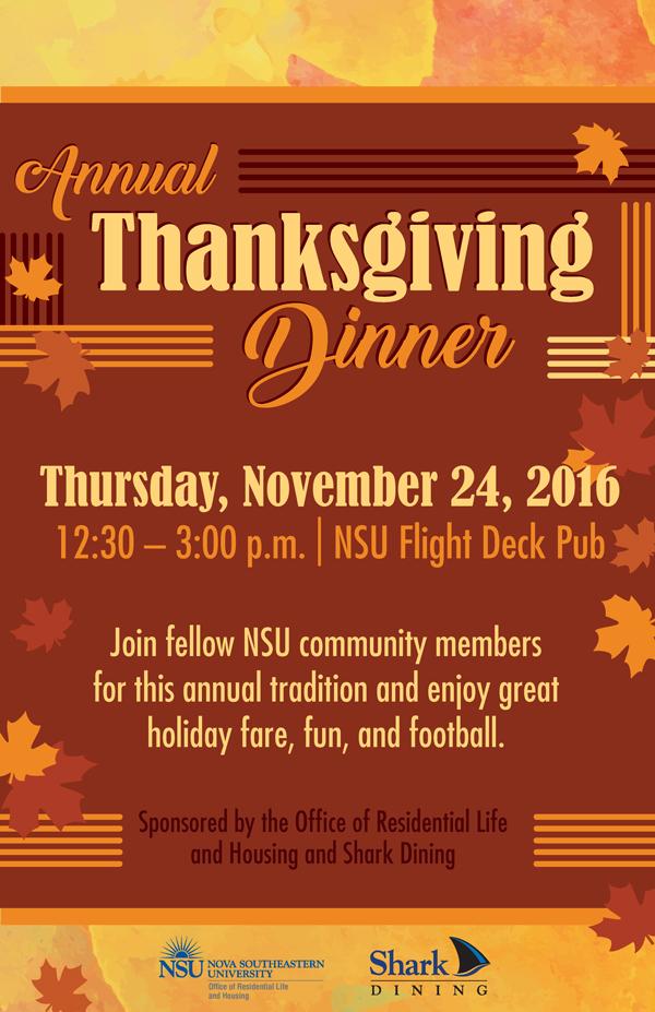 Southeastern Financial Aid >> Annual Thanksgiving Dinner in the Flight Deck Pub, Nov. 24 ...