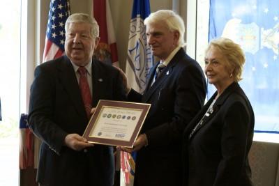 L to R: Ret. USAF Staff Sergeant, Peter Caspari, Department of Defense; NSU President George L. Hanbury II, Ph.D.; Rebecca Heinl, Department of Defense