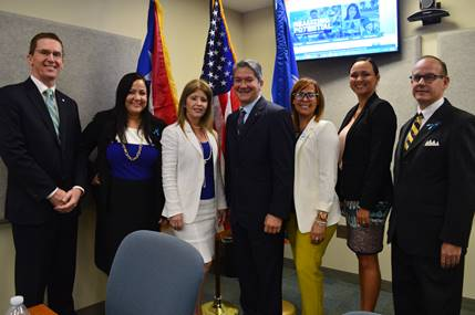(L to R) Dr. Kurt Schindler, President de la Board of Directors of the Ricky Martin Foundation; Jeannette Vazquez, president of Creative Skills Enterprises, Inc.; Vanessa Blanco, Campus Director NSU, Puerto Rico Campus; Hon. Edgardo Rivera García, Associate Judge of the Supreme Court of Puerto Rico Department of Justice of Puerto Rico; Karla González, Director of the Puerto Rico Alliance Against Human Trafficking; Mairis Cassagnol, Legal Assistant to Judge Edgardo Rivera of the Supreme Court of Puerto Rico, Marshal D. Morgan, Supervisor of the Unit for Human Trafficking and Crimes against Children Federal Prosecutor, District of Puerto Rico Department of Federal Justice.