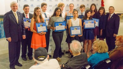 George Hanbury, NSU president and Holocaust Reflection Contest winners.