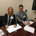 Emily Schmitt Lavin, Ph.D.,Chair Department of Biological Sciences and Nick Carris, Pharm.D., (Class of 2008) conduct mock interviews for students at one of 40 interviews conducted at the event.