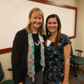 Emily Schmitt Lavin, Ph.D., with Lauren Stephens Dressel, M.S., CCC-SLP (Class of 2007) as she prepared to share her path to becoming a speech language pathologist with undergraduate attendees at Pre-Health Day.