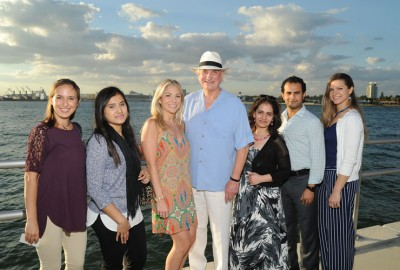 NSU President Dr. George L. Hanbury with students. From left to right: Brielle Rassler, Naima Jahan, Jordan Spaw, Dr. George L. Hanbury, Manasi R. Pimpley, Homood As Sibeai and Yana Vorontsova