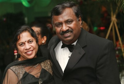 Appu Rathinavelu, Ph.D., executive director of NSU's Rumbaugh-Goodwin Institute for Cancer Research with wife Prema Rathinavelu Photo by Ashley Sharp and Kara Starcyk Bosworth