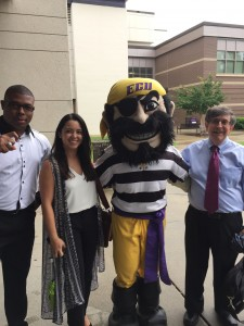 Omar Johnson, Katherine Sosa, the Pirate mascot and neil Katz, Ph.D.