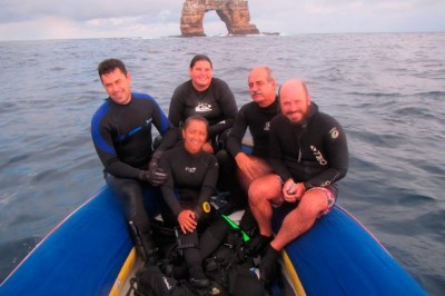 Riegl, Ph.D. with science team in Galapagos