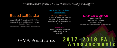 Auditions for Fall 2017 DPVA