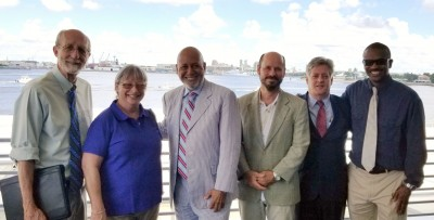 Left to right: Dean Richard Dodge, Ph.D., Associate Dean Robin Sherman, Ph.D., Congressman Alcee Hastings, Department of Marine and Environmental Sciences Chair Bernhard Riegl, Ph.D., Russell Cartwright, NSU Washington Representative, and Halmos Recruiter Jody Hastings, Ed.D.