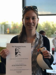 M.S. Student Sarah Gumbleton with her award certificate