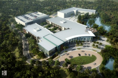 Aerial conceptual rendering of the Dr. Kiran C. Patel College of Osteopathic Medicine at NSU's Tampa Bay Regional Campus
