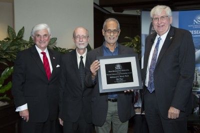 L to R: George L. Hanbury II, Ph.D., NSU president & CEO; Richard Dodge, Ph.D., Dean Halmos College of Natural Sciences and Oceanography; Mahmood Shivji, Ph.D., recipient of NSU's 7th Annual Provost's Research and Scholarship Award; and Ralph V. Rogers Jr., Ph.D., NSU Executive Vice President and Provost