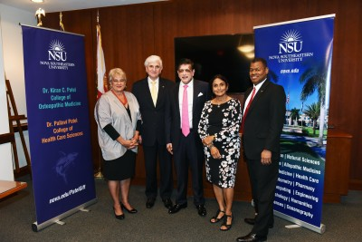 Dr. Elaine Wallace, NSU's Dean of the Dr. Kiran C. Patel College of Osteopathic Medicine; Dr. George L. Hanbury, NSU's President; Dr. Kiran C. Patel; Dr. Pallavi Patel; Dr. Stanley Wilson, Dean of the Dr. Pallavi Patel College of Health Care Sciences