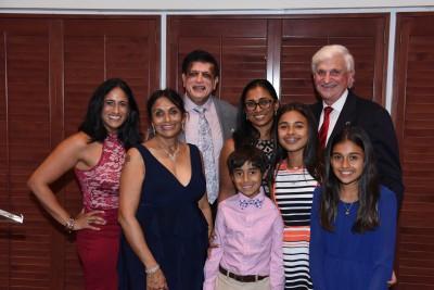 Dr. Sheetal Patel; Dr. Pallavi Patel; Dr. Kiran C. Patel; Dr. Sonali Judd; Dr. George L. Hanbury, NSU's President, children of Dr. Sonali Judd