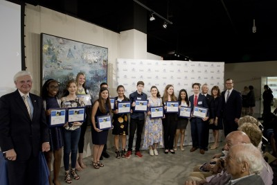 NSU President Dr. George L. Hanbury (left),  Barbara and Craig Weiner (second and third from right), co-founders of the Holocaust Learning and Education Fund, Inc., and Florida Lt. Governor Carlos Lopez-Cantera were on hand to congratulate the winners of the 2018 Holocaust Reflection Contest. They include (from left to right) Kairaluchi Oraedu, Vanguard High School; Annabel Seidemann, Omni Middle School; Emma Rome, Liberty Christian Preparatory School; Jennifer Juarez, Terra Environmental Research Institute; Christopher Rodriguez, Florida Christian School; Olivia Lobaina, Florida Christian School; Ben DIestel, David Posnack Jewish Day School; Sophia Irias, Florida Christian School; Madison Creevay, Barbara Goleman Senior High School; Paola Chapilliquen, Falcon Cove Middle School; Jonathan Tamen, Nautilus Middle School. Not pictured is Julia Arciola, North Broward Preparatory School.