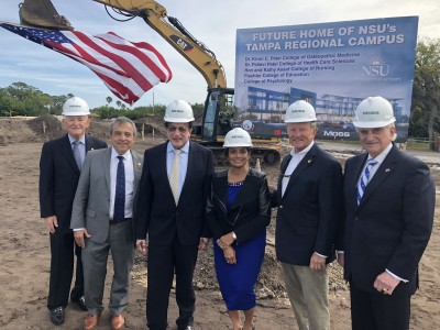 Left to right: NSU Board of Trustee Chairman Ron Assaf, ACAI Associates, Inc. President Adolfo Cotilla, Dr. Kiran C. Patel, Dr. Pallavi Patel, President of Moss Construction Bob Moss, and NSU President Dr. George Hanbury.