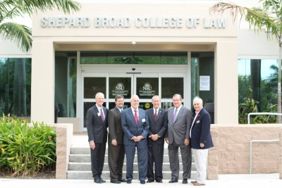 From Left to Right: David Ackerman (West Palm Beach), Frank McDonald (Orlando), Mike Burman (West Palm Beach), Gordon James (Ft. Lauderdale), Sam Holland (Miami) and Michael Richmond, NSU Law Faculty member