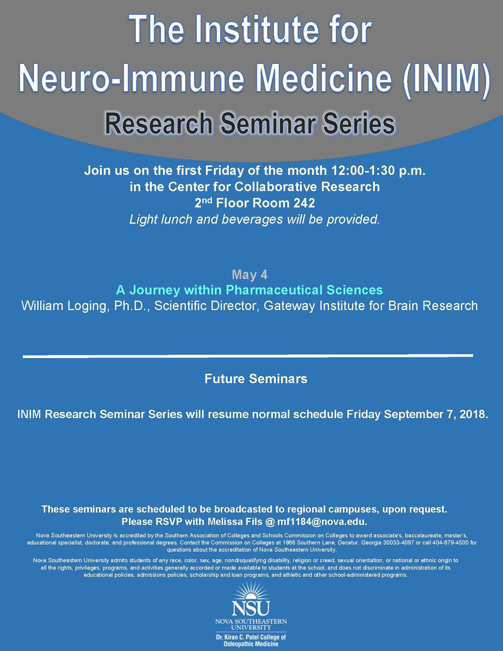 NSU Institute for Neuro-Immune Medicine Hosts Monthly Seminar, May 4 ...