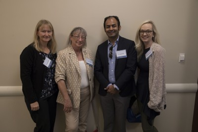 Dr. Emily Schmitt Lavin, Chair Department of Biological Sciences (DoBS); Dr. Robin Sherman, Associate Dean HCNSO, Dr. Sunil Patel (HCNSO Class of 2002) and Dr. Katie Crump (DoBS) conducted mock interviews for students at one of 40 interviews provided at the event.