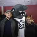 Alumni enjoy NSU Takeover Night at the Florida Panthers with Razor the Shark.