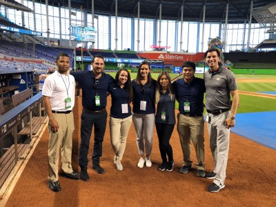 Associate Professor Robert Seifer, Ph.D., at Marlins Park in Miami with students from his Sports Psychology course.