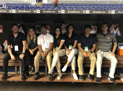 Associate Professor Robert Seifer, Ph.D., at Marlins Park in Miami with students from his Sports Psychology course