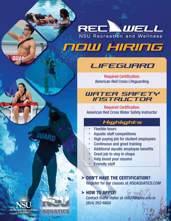 lifeguard hiring safety water instructor recwell cross required american