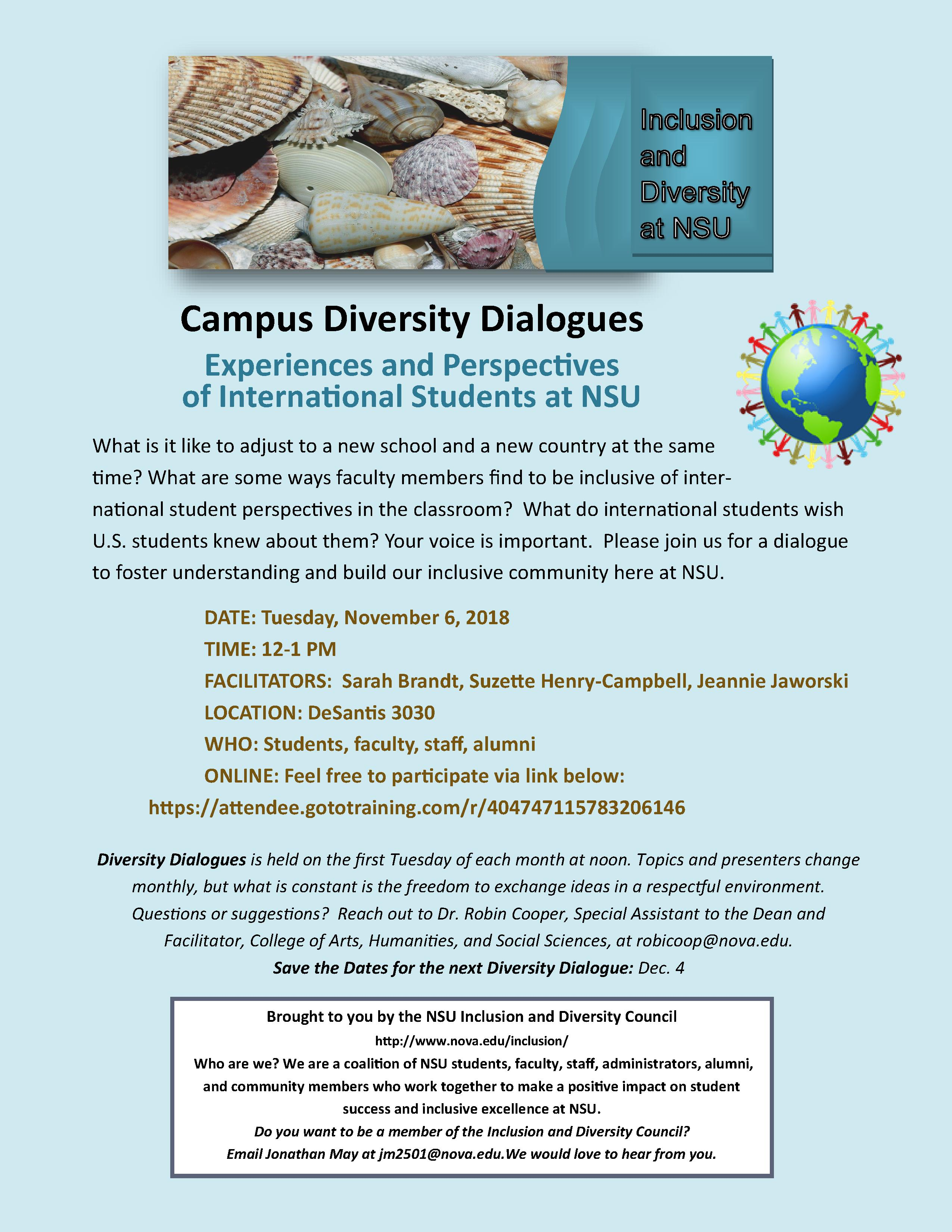 """CAHSS invites you to Diversity Dialogues """"The Experiences"""